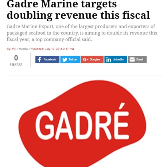 Gadre Marine targets doubling revenue this fiscal (Jul 12, 2016) View Online