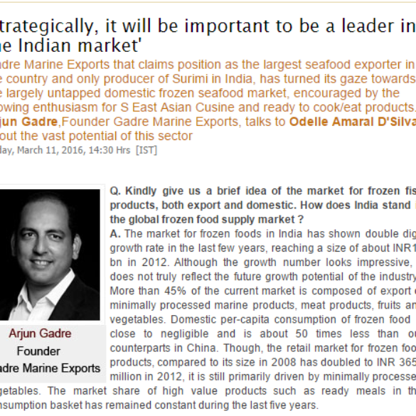 Strategically, it will be important to be a leader in the Indian market (Mar 14, 2016) View Online