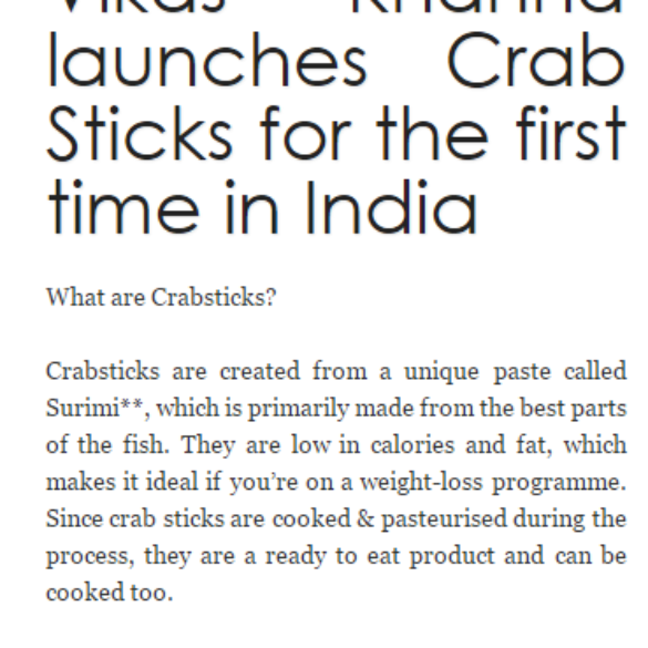 Gadre Premium Seafood and Vikas Khanna launches Crab Sticks for the first time in India – Web Newswire (Mar 14, 2016)