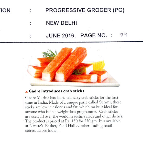 Gadre Introduces Crab Sticks (Jun 21, 2016)