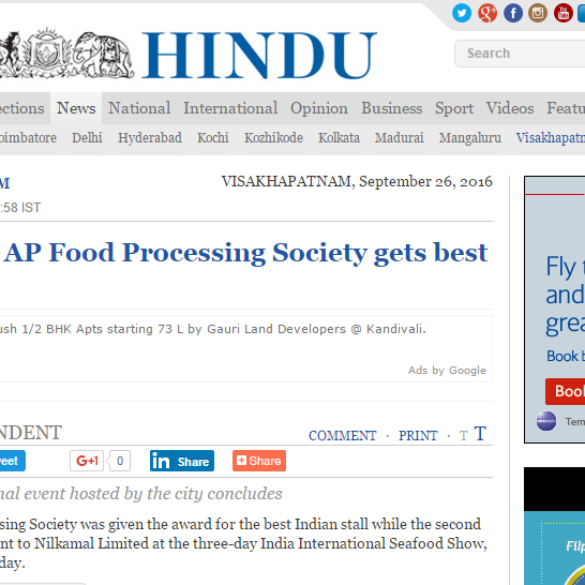 Seafood show: AP Food Processing Society gets best stall award (Sep 26, 2016) View Online
