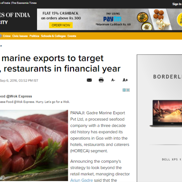 Gadre marine exports to target hotels, restaurants in financial year (Sep 8, 2016) View Online