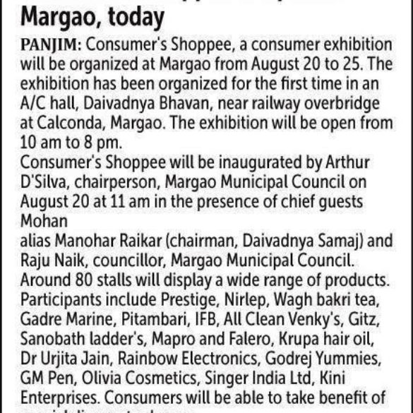 Consumer Consumer's Shoppee To Open At Margaon, Today (Aug 19, 2015)