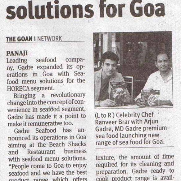 Gadre Launched Seafood Menu Solutions For Goa (Dec 17, 2015)