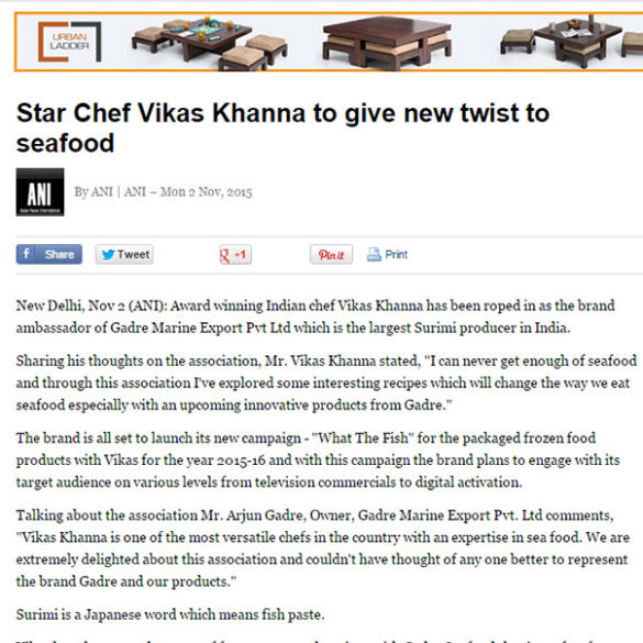 Star Chef Vikas Khanna to give new twist to seafood (Nov 2, 2015) View Online
