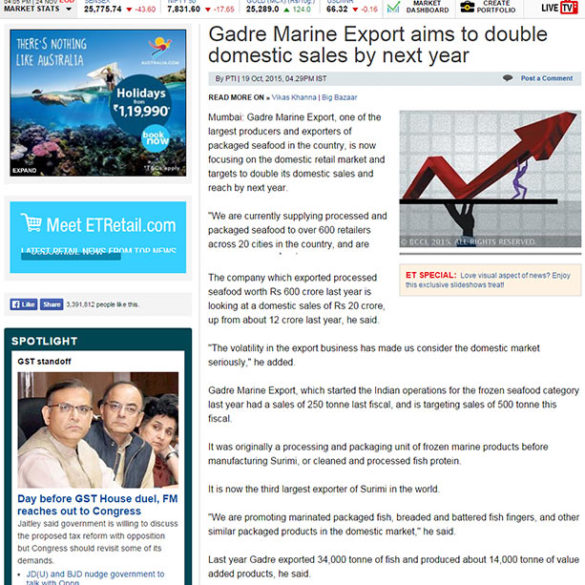 Gadre Marine Export aims to double domestic sales by next year (Oct 19, 2015) View Online