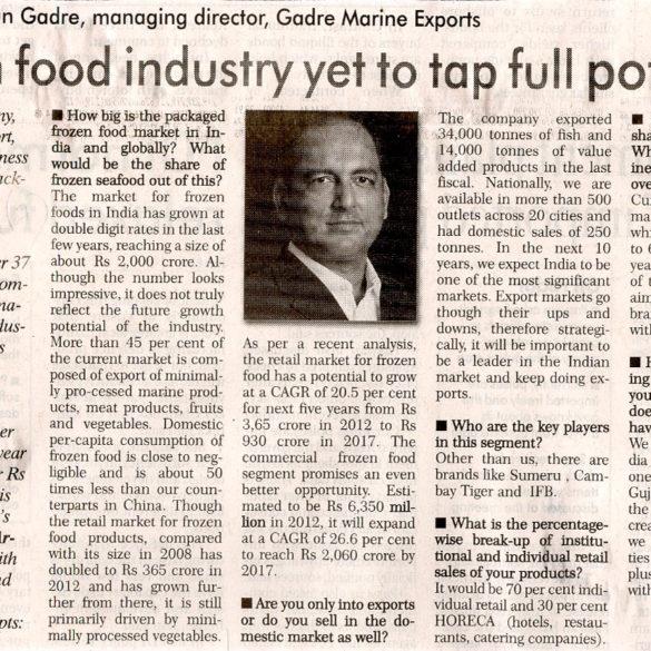 Frozen food industry yet to tap full potential (Nov 25, 2015)