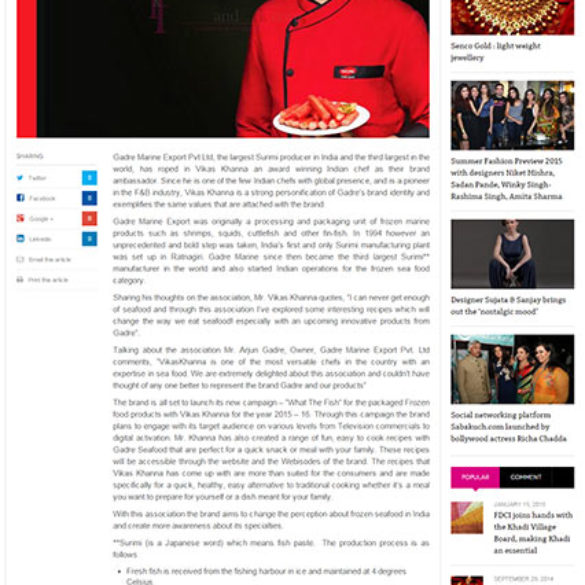 Gadre Premium Seafood signs Star Chef Vikas Khanna and expands its footprint (Oct 22, 2015) View Online