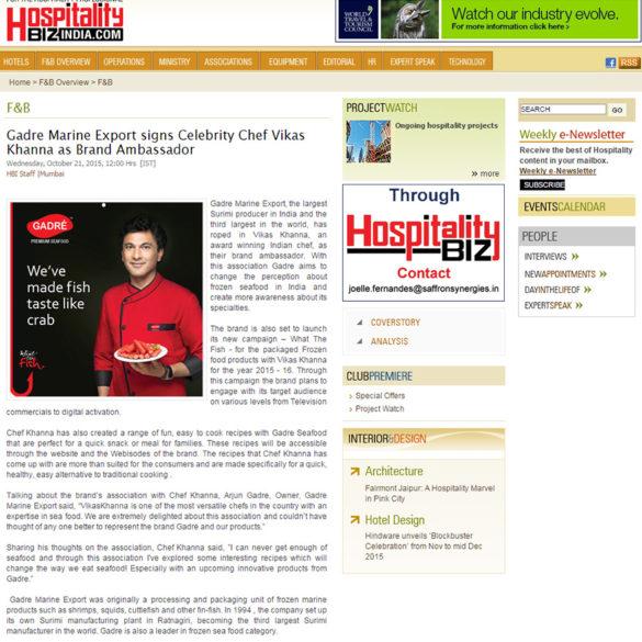 Gadre Marine Export signs Celebrity Chef Vikas Khanna as Brand Ambassador (Oct 21, 2015) View Online