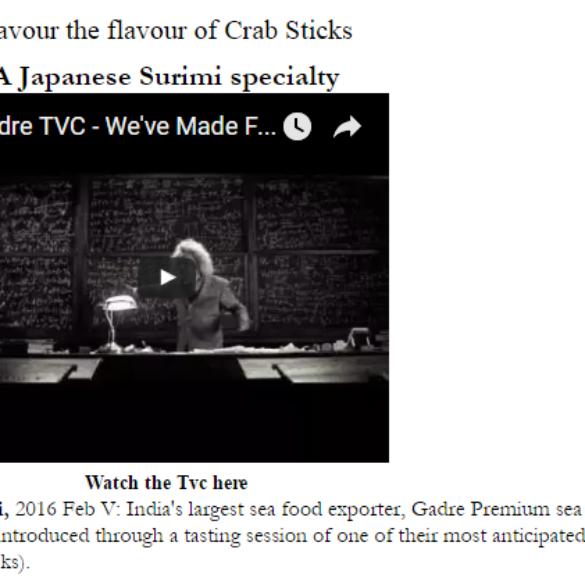 Now savour the flavour of Crab Sticks (Jun 1, 2016) View Online