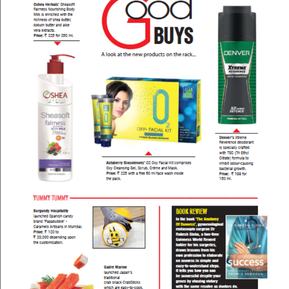Gadre Featured in Health and Nutrition Magazine – National Edition (Dec 9th, 2016)